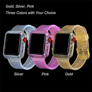 Für apple watch 42mm 38mm glänzend glitter silikonband mit bling stoßstange fall für iwatch serie 1 2 3 4