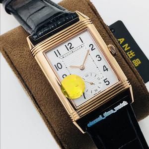 ANF Top version REVERSO Q2788520 двухсторонний циферблат с двойным часовым поясом 854A / 2 28800vph механические мужские часы с ручным заводом Sapphire Luxry Watches