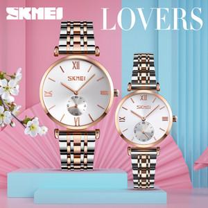 SKMEI Mode-Paar-Quarz-Uhr-Frauen-Mann-Liebhaber Luxus-Uhren Edelstahl-Bügel regalo hombre 9198 Lady Gentleman Geschenk