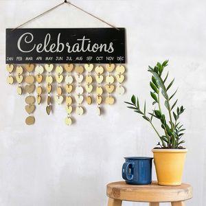 Ahşap Doğum Günü Hatırlatıcı Kurulu Plak İşaret Aile DIY Takvim Ev Dekorasyonu