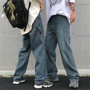 Корейский стиль Ins Harajuku Style Street Ретро Личность Сыпучие-Fit Омывается джинсы вскользь Straight Leg папа Брюки мужские и женская