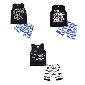 Ropa Niños Establece la ropa del bebé del verano de dibujos animados de pescado tiburón de impresión para Niños Conjuntos del niño camiseta de la manera Trajes Pantalones cortos para niños C4321