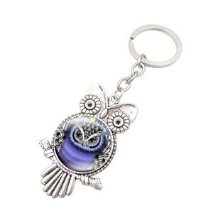 Owl vidro Cabochon KeyRing Coruja encantos de luxo de design Forma acessórios keychain trava saco designer de jóias Moda