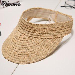 Mesdames Uv Déroule coréen Chapeau de soleil d'été Visière Femmes Visor naturel raphia Chapeau de paille chapeaux de soleil de plage
