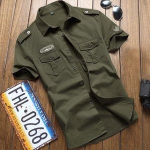Las tácticas de los hombres de la camisa de manga corta de verano Tops sólido Tamaño Pocket Color Plus 5XL Ropa