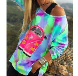 Sleeved Свободный пуловер Tshirts Мода женщин Топы Tie Dye конструктора женщин Тенниски вскользь одно плечо Длинные