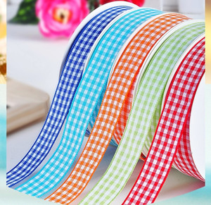 38mm Art und Weise Gingham Bänder Polyester Tartan Plaidfarbband 100 Yards / Los Geschenkverpackung Hochzeit Nähen Handwerk Verpackung Woven