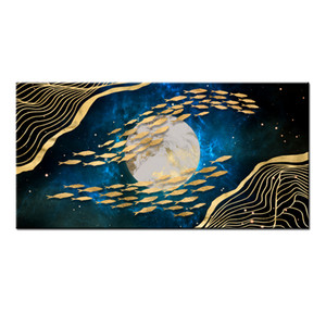 Wall Art Gifts Hot series Modern Abstract Gold Feng Shui Koi Fish Painting Printed On Canvas Picture office Living Room Home Decor BFS4025