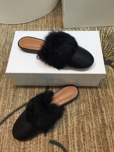 New Winter 2020 Ladies Slipper with Leather Flat Bottom Rabbit Hair Slippers and Half Slippers with Low-heeled Steamed stuffed bun slippers