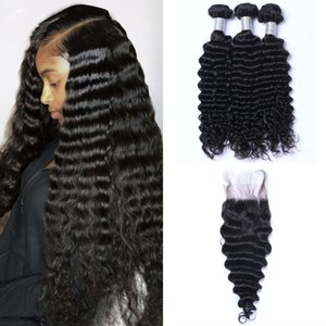 Mongolian Virgin Hair 3 Bundles Deep Wave with Closure Free Part 4*4 Lace Closure with Bundles Human Hair Weaves