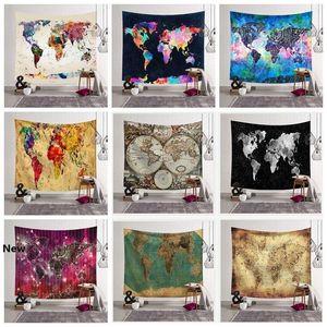 12 Styles World Map Printed Tapestry Wall Hanging Home Decor Beach Towel Yoga Mat Shawl Picnic Mats Home Decor CCA11524 30pcs