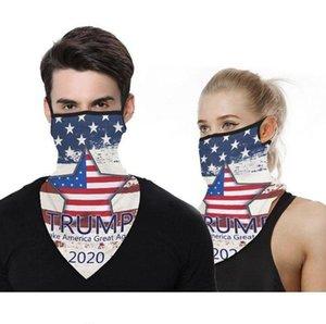 Máscaras Ciclismo cara Trump US Presidente Eleição Ice Silk Sun Proteção Máscara Dustproof Ear laço cachecol triângulo Turban DHD618