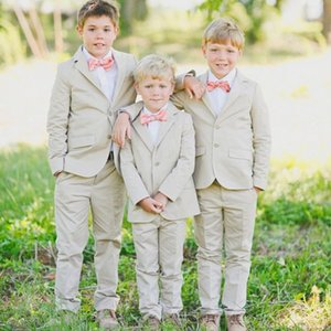 New Boy Suits 2019 Ring Bearer Suits Notched Lapel Boy's Formal Wear Occasion Kids Tuxedos Wedding Party Suits (Jacket+Pants+Bow)