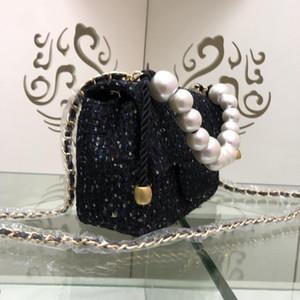 Novo clássico Tweed pérolas de imitação cadeia saco de pano Designer Handbag ombro único Crossbody Mini Joker com caixa de couro genuíno