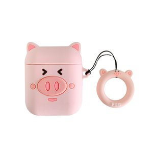 Cartoon cute pig couple earphone shell 1 2 bluetooth wireless headset protective sleeve silicone drop dhl free