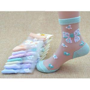 1 4Pairs Lot Summer Girls Lovely Butterfly Crystal Silk Socks Children Kids Baby Girl Mesh Floral Elastic Lace Flowers Socks