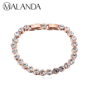 MALANDA Marque 2018 Chaude De Mode Réel Cristal De Swarovski Or Couleur Zircon Bracelets Bracelets Pour Les Femmes De Mariage Bijoux