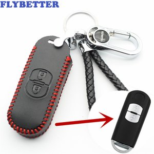FLYBETTER Genuine Leather 2Button Smart Key Case Cover For Mazda M3 M6 CX-4 CX-5 Summit Axela Atenza Car Styling (B) L1999