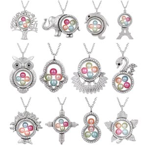 Silver Elephant Cross Owl Living Memory 8mm Cuentas de perlas Medallón flotante de vidrio magnético Collar colgante Perla Jaula Locket Charms
