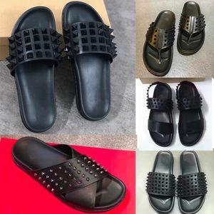 Herren Designer Schuhe Red Bottom Spikes Slippers Echtes Leder Sandalen Luxus Sommer Flache Flip Flops Große Größe