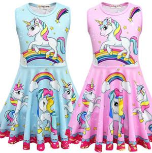 Vestido de unicórnio do bebê 3-8y rainbow unicórnio dress for kids inst baby princesa vestidos unicórnio meninas party dress kids summer vestidos casuais 20 pcs