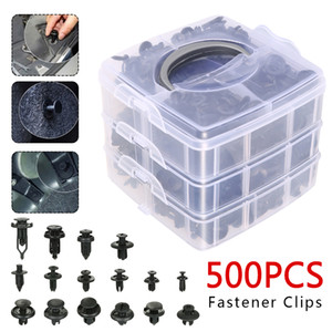 Clips 500PCS de coches plásticos Sujetadores de coches ajuste de la puerta Panel Parachoques auto del remache de retención de empuje clips tapa del motor Auto Fastener