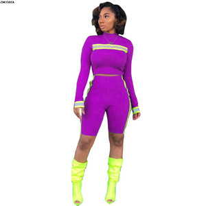 2019 women long sleeve reflective stripe splicing tee top knee length pants suit 2pcs set sporting outfit tracksuit 5 color 5198
