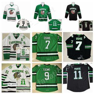 Dakota du Nord combattant Sioux 11 Zach Parise College Jerseys Vert Noir Blanc 7 TJ Oshie 9 Jonathan Toews Hockey Jersey Livraison Gratuite