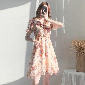 Französisch-Nischen-Design-Rüsche-Rock-Frauen-Sommer-neuer-kurzärmliger Ins Super-Feuer V-Ausschnitt gedruckt Kleid