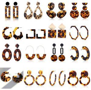 Nueva tortuga del diseñador del color del estampado leopardo de la hoja de acrílico ácido acético oído geométrica Círculo cuadrado largo pendientes de gota animal caliente del perno prisionero de la Mujer