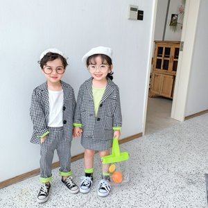 2020 Spring Childrern Plaid Suit Set Boys Girls Jackets Pants skirt 2pcs Clothes Sets Kids Party Birthday Costume