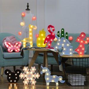Los niños LED Tabla enciende la lámpara del flamenco del corazón del unicornio forma de piña noche en casa decoración de la luz de habitaciones lámparas de modelado linterna XD22899