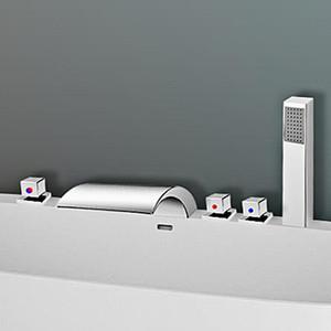 5шт LED ванной кран Водопад Носик Смесители хромированная латунь ванной смеситель для душа с Handshower холодной и горячей воды