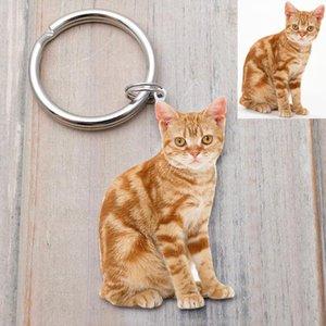 CUSTOM Pet Photo Keychain, Cat фото брелок, изготовленные на заказ брелоки, персонализированный собака брелок кот брелок, Cat Lover подарки