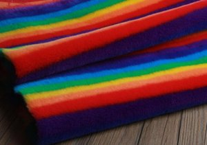 무지개 모방 렉스 모피 스웨이드 염색 모직 원단 패치 워크면 여성 코트 성능 의류 모조 모피 카펫 패브릭, 160CM, B335