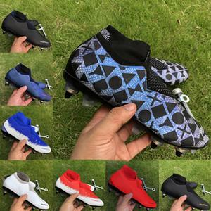 chaussure de football Phantom Vision Elite VSN DF SG chaussures de soccer pour hommes noir Lux RECHARGÉES Crampons de football bleu blanc haute cheville