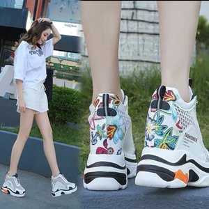 20200530 Spring style breathable casual super high heel hollow thick sole and inner height shoes