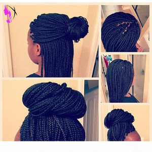 perruque americaine 30inches long africa braids Lace Front Black brown blonde wigs Synthetic Braided Box Braids wigss for women