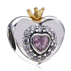 Authentique 925 bijoux en argent sterling coeur perles rose cristal clair 14k Gold Crown Love Heart perles bricolage Logo Bracelets Accessoires