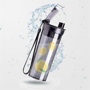 투명한 플라스틱 컵 Te Baihui 같은 단락의 물병 휴대용 누출 방지 텀블러 뒤 뚜껑 안쪽 끈을 신고 스트랩 9 8cyb1