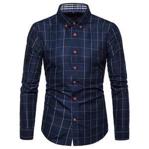 Весенняя повседневная мужская рубашка в шотландскую клетку с тонкими рубашками Мужская модель с длинным рукавом