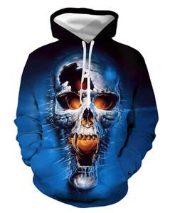 Blue horror skull 3d digital print hooded pocket hooded sweater male