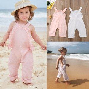 2018 Yeni Yaz Sevimli Bebek Kızlar Ruffles Kolsuz Romper Kıyafetler Backless Kolsuz Rompers Bebek Plaj Tulum tulum