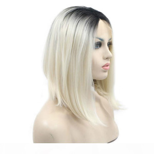 L Dark Roots Ombre Platinum Blonde Bob Hairstyle Synthetic Lace Front Wigs Middle Parting 60 #Short Straight Heat Resistant Fiber Hair