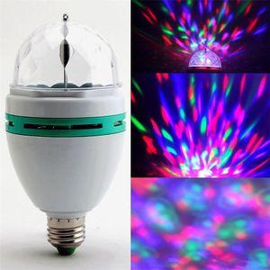 3W E27 RGB لمبة الإضاءة بالألوان الكاملة LED كريستال المرحلة ضوء السيارات الدوارة المرحلة تأثير DJ مصباح مصغرة ضوء المرحلة مع مربع البيع بالتجزئة