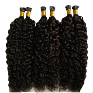 Grade 7A Néguée Vierge Vierge Mongole Kinky Cheveux bouclés Italien Kératine Stick Stick I Italie I Stick Impressions Human Hair Extensions Afro Kinky Cheveux Curly 100s
