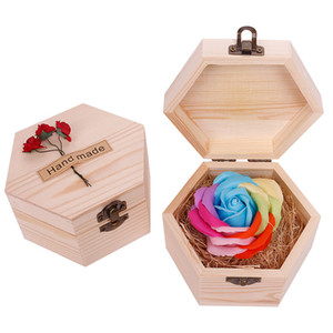 Heart Shaped Wooden Box Soap Flower Simulation Colorful Rose Small Wooden Box size 12.8X7cm soap flower and Wood wedding gift