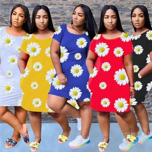 2020 Floral Chrysanthème Imprimé Eté Femme Robes Femmes Mode court Sleev mi-longues Robe Sports Party Casual Tissu S-2XL D5606