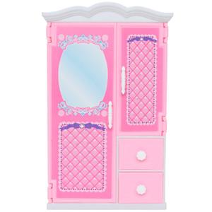 1 Pcs Haute Qualité Rose Armoire En Plastique Mini Maison De Poupée Chambre 1: 6 Mignon Meubles Pour Barbie Poupée Accessoires Enfant Cadeau De Noël Jouet