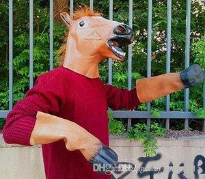 Tête complète Masque Tête de cheval Masque Creepy Fur Mane Latex Réaliste fou super Creepy Halloween Party Costume C163 Masque animal
